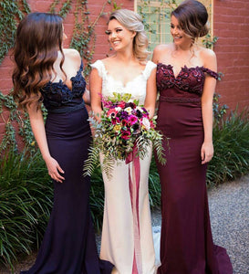 Fashion Navy Blue/Burgundy Empire Off Shoulder Satin Evening Dress Bridesmaid Dress - EVERISA