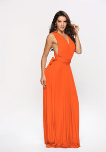 Orange Long Multiway Bridesmaids Dress ,Infinity Dress,Convertable Dress