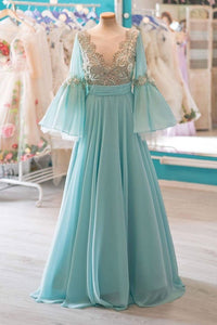 New Blue V Neck Long Sleeves Prom Dresses Empire Long Evening Dresses
