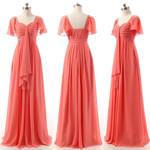 Coral Red Short Sleeves A Line Bridesmaid Dresses Long Prom Dresses With Ruffles