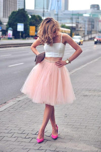 Fashion Pink Sleeveless Two Piece Tulle Prom Dress Cheap Mini Dresses - EVERISA