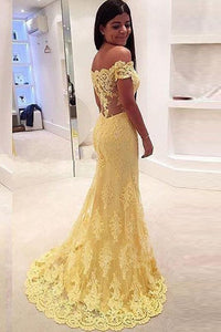 Elegant Yellow Off Shoulder Mermaid Lace Prom Dresses Long Evening Dresses