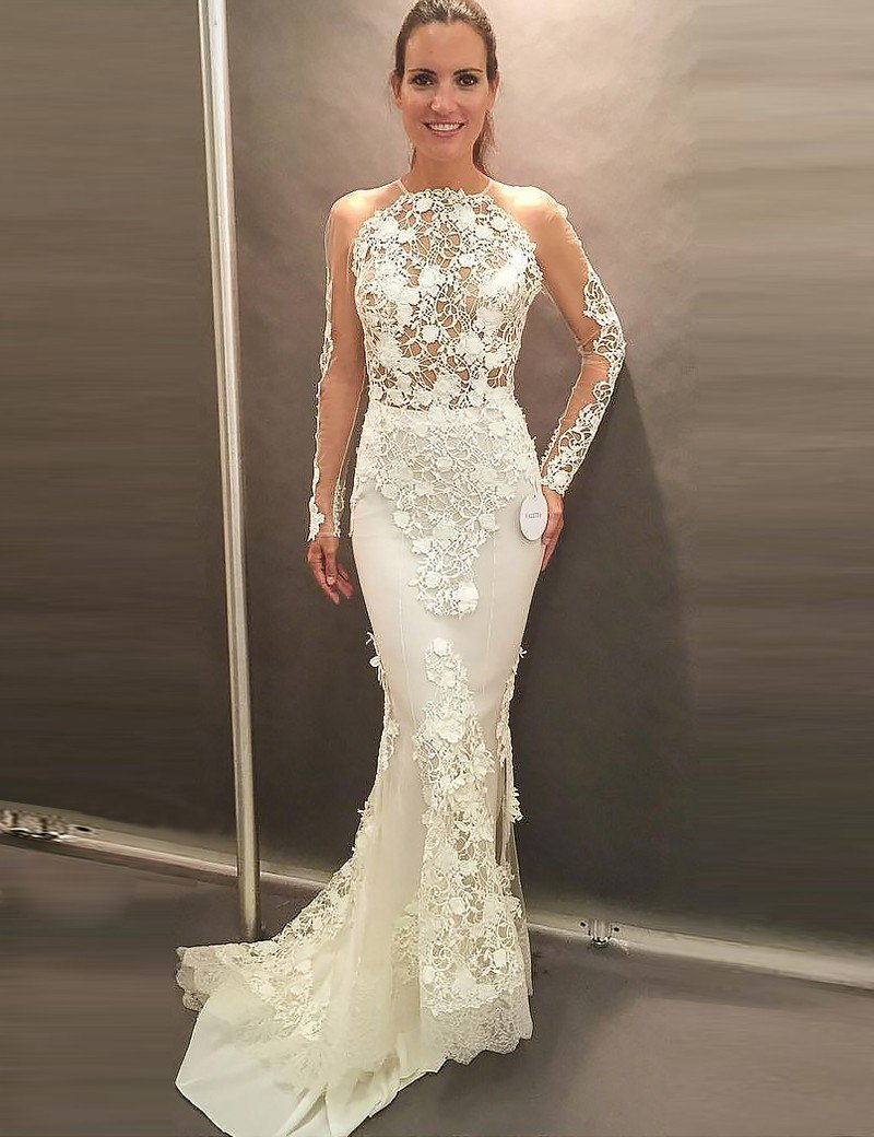 Sexy White Long Sleeve Open Back Lace Wedding Dress Cheap Bridal