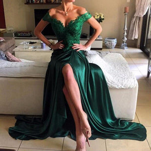 Sexy Green Off Shoulder Floor-Length Lace Appliques Prom Evening Dress Slit Evening Dress - EVERISA