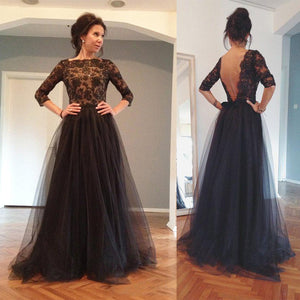 Sexy Black Long Sleeves Open Back Lace Prom Dress Long Evening Dresses - EVERISA