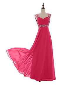Fashion Hot Pink Sweetheart Backless Chiffon Prom Dress Long Bridesmaid Dress - EVERISA