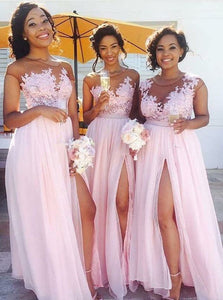 Sexy Pink Empire Side Slit Chiffon Prom Dresses Inexpensive Bridesmaid Dress - EVERISA