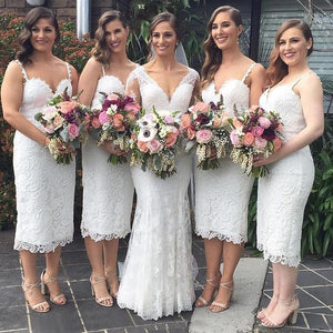Sexy White Sweetheart Lace Bridesmaid Dresses Affordable Prom Dresses - EVERISA