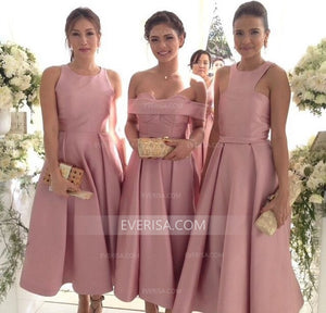 Different Style Dusty Pink A Line Prom Dresses Affordable Bridesmaid Dresses With Sleeveless - EVERISA