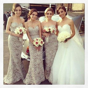 Elegant Ivory Sweetheart Mermaid Lace Bridesmaid Dresses Long Prom Dress - EVERISA