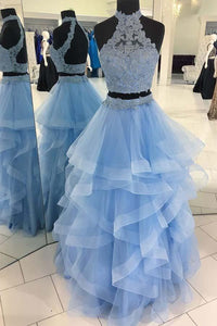 Unique Pale Blue Two Pieces Backless Organza Prom Dress Long Evening Dresses