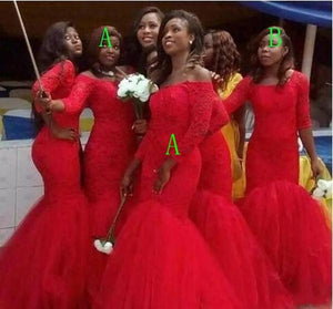 Different Style Red Lace Mermaid Bridesmaid Dresses Long Prom Dresses