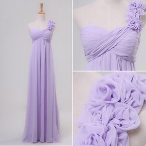 Lilac Sweetheart One Shoulder A Line Prom Dresses Chiffon Evening Dresses With Flower