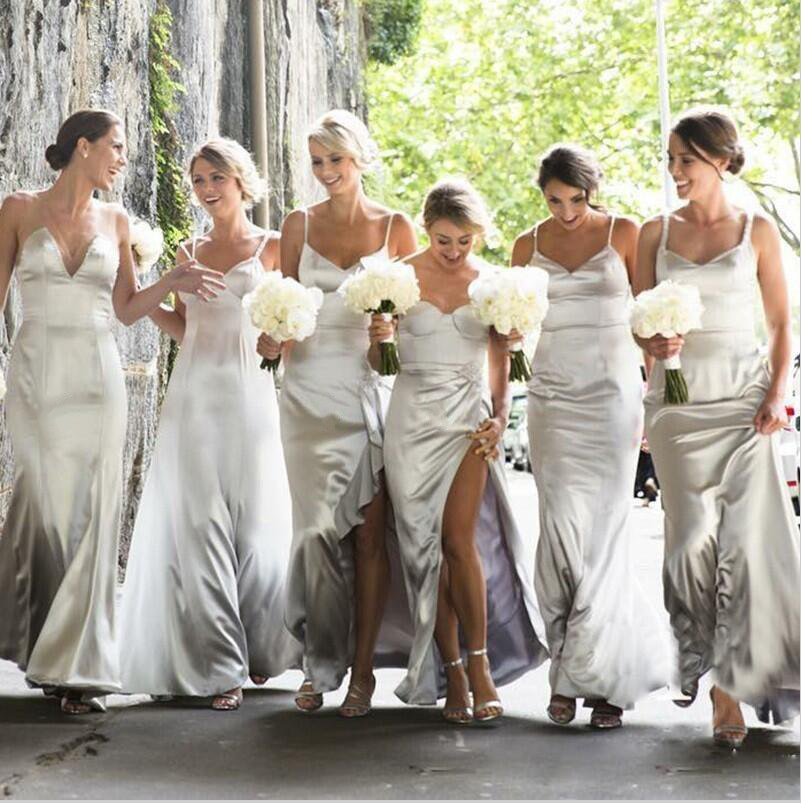 58fd7dbc3 Unique Silver Grey V-Neck Side Slit Satin Bridesmaid Dresses Cheap Evening  Dress
