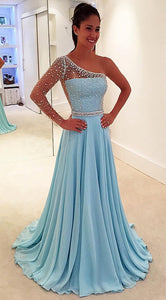 Blue One Shoulder Detachable Evening Dresses Cheap Prom Dresses With Beaded - EVERISA