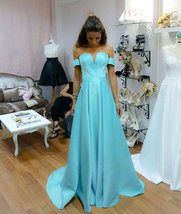 Blue V Neck Off Shoulder Satin Evening Dresses Inexpensive Prom Dresses - EVERISA