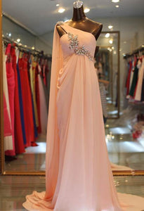 Fashion Blush Pink Sleeveless Open Back Chiffon Prom Dresses Evening Dress - EVERISA