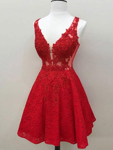 Red V Neck Sleeveless A Line Homecoming Dresses Lace Cocktail Dresses