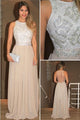 Simple Champagne High Neck Sleeveless Chiffon Evening Dress Formal Dress With Beading - EVERISA
