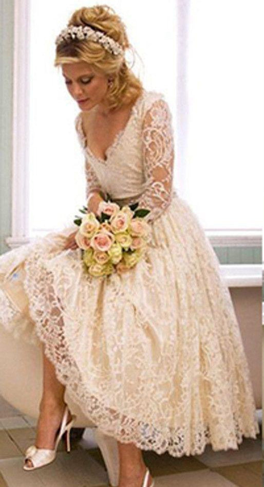 f25a4b66a0f3 White V-Neck Long Sleeves Lace Bridal Gown Short Wedding Dresses ...