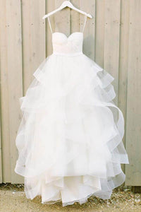 Chic White A-line Sleeveless Tulle Wedding Dresses Cheap Bridal Gown With Ruched - EVERISA