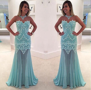 Charming High Neck Sleeveless Lace Prom Dresses Cheap Evening Dresses - EVERISA