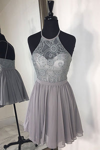 Grey Sleeveless Cross Back Beaded Prom Dresses Short Cocktail Dresses