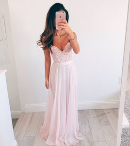 Sexy Light Pink V-Neck Sleeveless Chiffon Prom Dress Long Evening Dresses With Lace - EVERISA