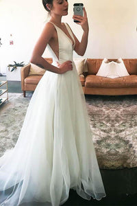 Sexy White A-Line V-Neck Straps Tulle Wedding Dresses Cheap Bridal Gown - EVERISA