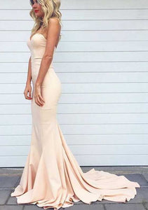 Elegant Blush Pink Sweetheart Mermaid Satin Evening Dress Prom Dress - EVERISA