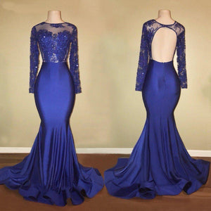Long Sleeves Open Back Mermaid Prom Dresses Affordable Evening Dresses