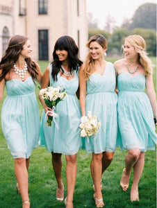 Blue Sweetheart Sleeveless Short Bridesmaid Dresses A Line Prom Dresses With Ruffles