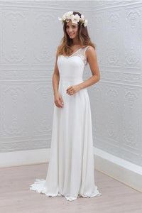 White Prom Dresses V-Neck Sleeveless Backless Chiffon Bridesmaid Dresses - EVERISA