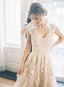 2018 Blush Pink V-Neck Sleeveless Lace Wedding Dress Cheap Bridal Gowns - EVERISA
