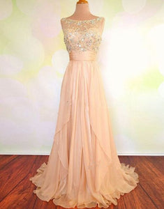 Pink Sleeveless A-Line Chiffon Prom Dresses Cheap Evening Dresses With Beading