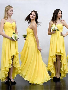 Yellow Spaghetti Straps High Low Prom Dresses A Line Bridesmaid Dresses - EVERISA