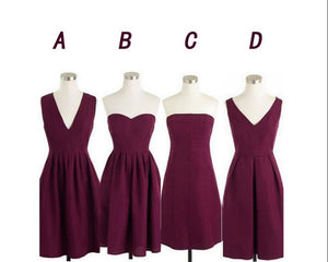 Different Style Maroon Chiffon Prom Dresses Sleeveless Cheap Homecoming Dresses - EVERISA