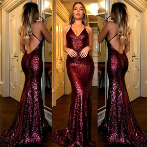 Sexy Dark Red Mermaid Backless Sequin Evening Dress Long Prom Dresses - EVERISA