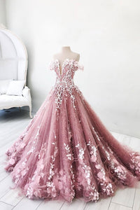 Pink Off Shoulder A Line Lace Appliques Evening Dresses Long Prom Dresses