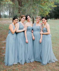2018 Sky Blue Spaghetti Straps Floor-Length Tulle Bridesmaid Dresses Evening Dress - EVERISA