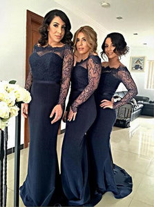 Hot Selling Navy Blue Off Shoulder Satin Prom Dresses Bridesmaid Dresses - EVERISA