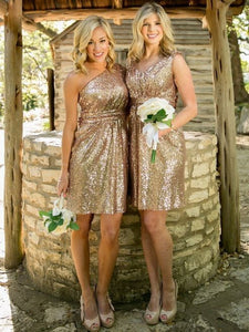 Simple Different Style Gold Sleeveless Empire Sequin Prom Dress Short Bridesmaid Dress - EVERISA