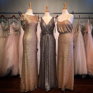 Sexy Empire V Neck Floor Length Sequins Bridesmaid Dresses Prom Dress - EVERISA