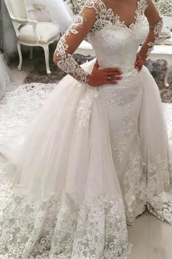 1de6ae6c296 Luxury White V-Neck Long Sleeves Detachable Tulle Wedding Dress Lace Bridal  Gown