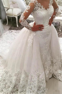 Luxury White V-Neck Long Sleeves Detachable Tulle Wedding Dress Lace Bridal Gown