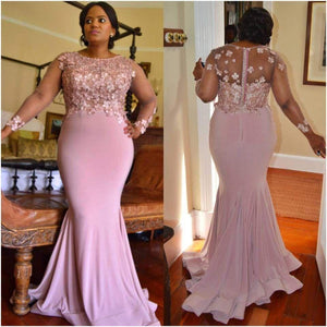 Scoop Neck Long Sleeves Plus Size Bridesmaid Dresses Mermaid Prom Dresses