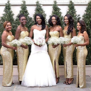 Gold Sweetheart Side Slit Sequin Bridesmaid Dresses Long Prom Dresses - EVERISA