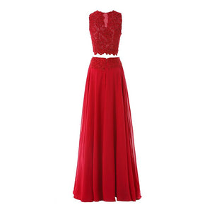 Chiffon Prom Dresses Two Pieces Sleeveless Long Evening Dresses With Beaded - EVERISA