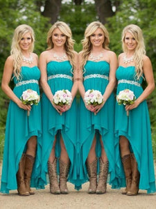 Blue A Line Bridesmaid Dresses Sweetheart High Low Prom Dresses
