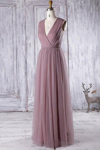Purple V Neck Sleeveless Tulle Bridesmaid Dresses Long Prom Dresses - EVERISA
